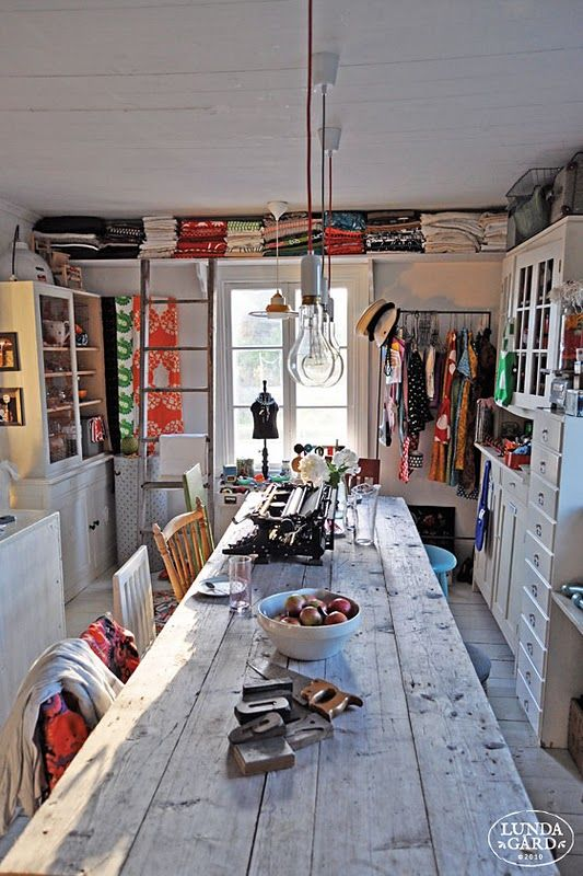 Lundagard - Finland, I want a really long wooden table in my studio. With lots of shelves and space for fabric.