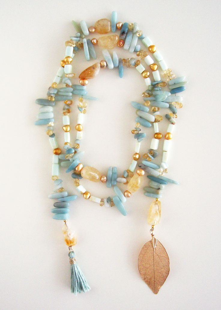 DivinoDon Necklace made of amazonite, citrine and pearls. Find more at www.divinodon.com