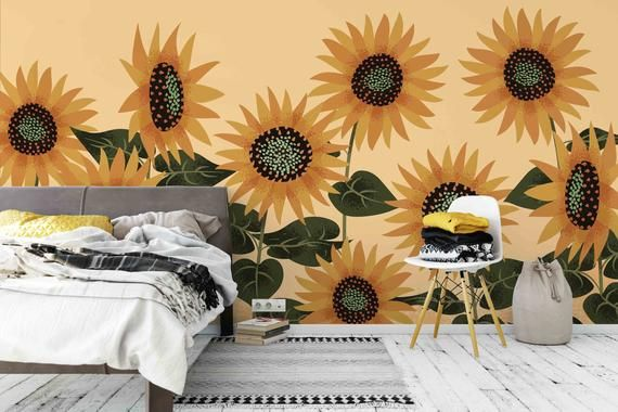 3d Nature Sunflowers Wallpaper Mural Peel And Stick Wallpaper Etsy Mural Wallpaper Wall Murals Wall Prints