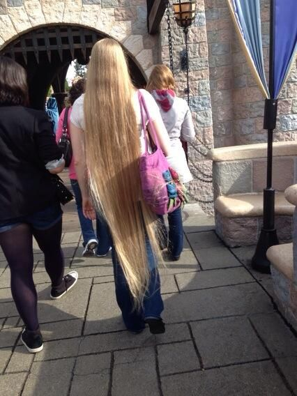 Long Blonde Hair Down To Her Ankles Long Hair In Public