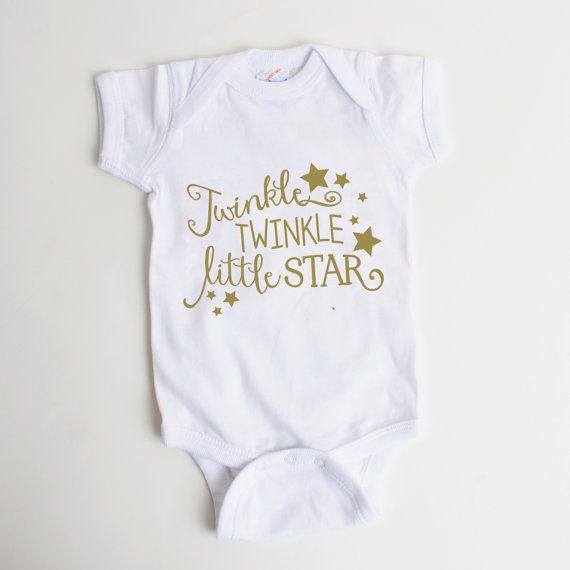 Gold Baby Shirt - Newborn Baby Gift - Twinkle Twinkle Little Star                                                                                                                                                                                 More