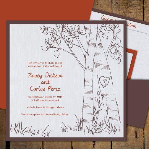 "The ""Lauren"" - Birch Trees Wedding Invitations - Fall or Spring Wedding Invitation Cards. $5.75, via Etsy."