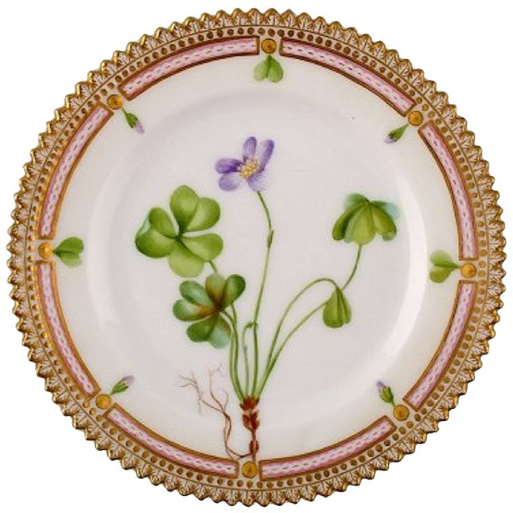 Antique Royal Copenhagen Flora Danica Dessert Plate | From a unique collection of antique and modern dinner plates at https://www.1stdibs.com/furniture/dining-entertaining/dinner-plates/