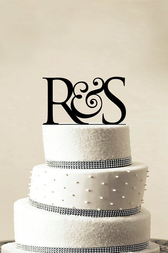 Custom Wedding Cake Topper - Personalized Monogram Cake Topper - Initial Cake Topper - Cake Decor - Bride and Groom