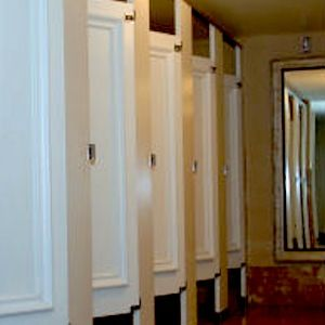 Ironwood Toilet Partitions With Molding On The Doors. Toilet Stalls Doors  With Molding.