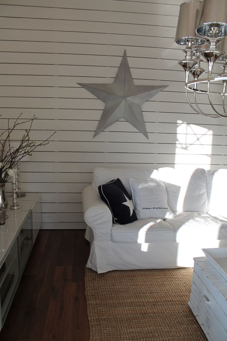 White wooden wall in the living room