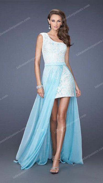 Asymmetrical Magic High-Low Lace One Shoulder Neckline Dress by La Femme