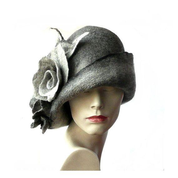 Grey Felted  Hat felt hat Cloche Hat Flapper 1920 Hat by Feltpoint
