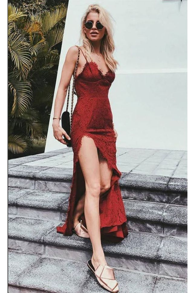 Charming Red Lace Spaghetti Straps Long Prom Dress With Sexy Slit OK858