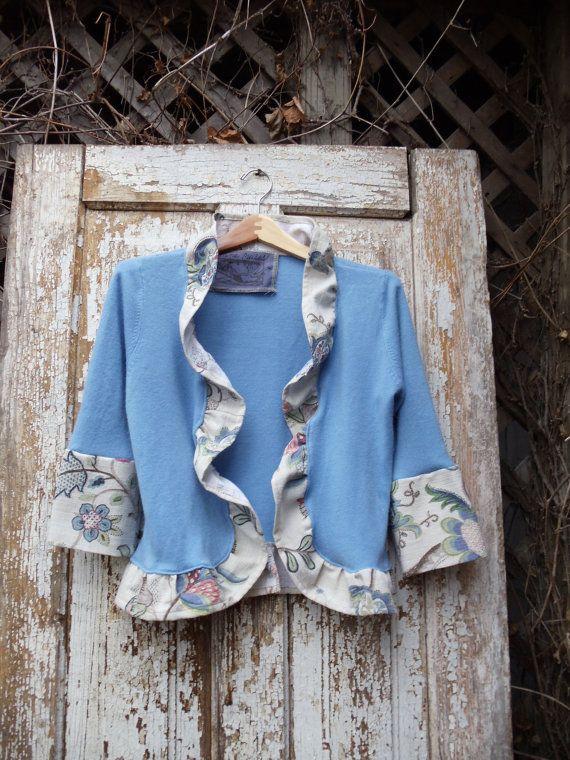 Blue Acrylic Sweater Bark Cloth Like by NineMusesofCrete on Etsy, $55.00