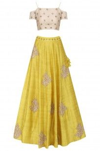 Yellow Floral Embroidered Lehenga with Ivory Off Shoulder Blouse