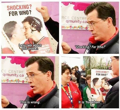 When Stephen Colbert couldn't stand a grammatical mix up.