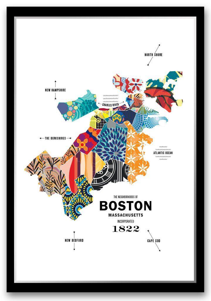 North Shore Boston Map : north, shore, boston, Personalized, Boston, Print, Print,