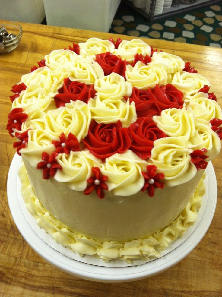 Red And White Buttercream Rosette Cake Omg Love Just