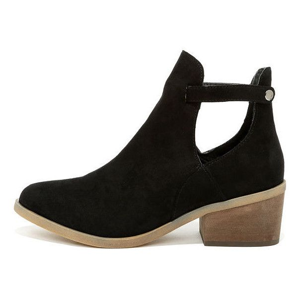 Side Kicks Black Suede Cutout Ankle Booties ($44) ❤ liked on Polyvore featuring shoes, boots, ankle booties, black, suede booties, black boots, black ankle boots, cut-out ankle boots and black bootie