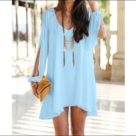 Swept Away Dress Color: Baby Blue, Slit Sleeves, Vneck, from Apricot Lane Boutique Cocolove Dresses