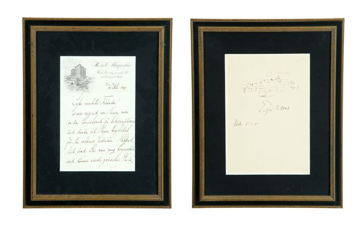 """Garths   Full Details for Lot 543   TWO AUTOGRAPHS OF EUROPEAN MUSICAL FIGURES.  A manuscript bar of music signed by Eugene Albert (1816-1890), a Belgian instrument maker, dated Berlin, January 15, 1918. Matted and framed, 15.5""""h. 12.5""""w. Together with an autograph letter signed by Polish pianist and composer Moriz Rosenthal (1862-1946), on Hotel Majestic (NY) letterhead, dated February 14, 1929. Matted and framed, 14.5""""h. 11.5""""w.  Estimate $ 150-250"""