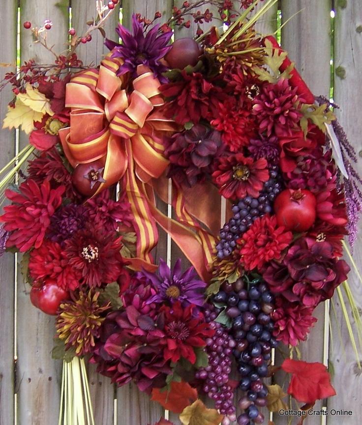 Fall Door Wreath Red, Purple, Grapes