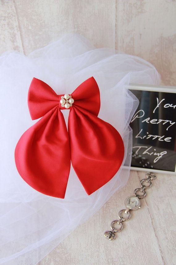 Red Cherry Matte Silk Women's Bow Tie Genuine New #BowsByVaniaSzasz #Etsy #redcherry