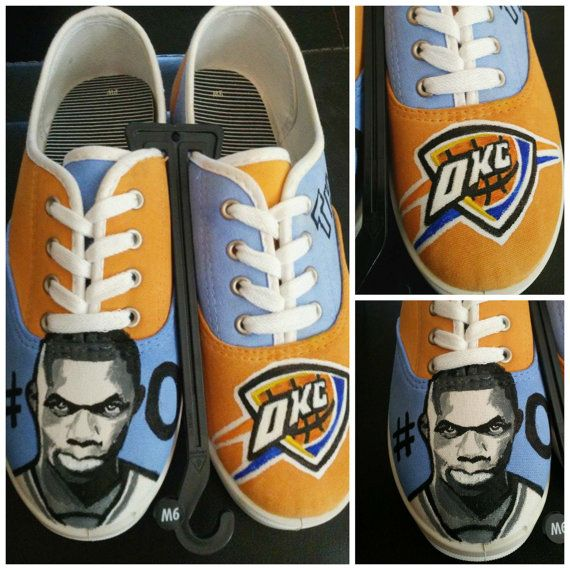 OKC Custom Painted Shoes - Russell Westbrook Painting - Oklahoma City Thunder Custom painted shoes