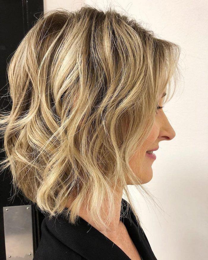 Beach Waves On A Long Dark Ash Blonde Bob With Light Blonde Balayage On A Woman In Profile Medium Length Ha Fine Hair Medium Length Hair Styles Hair Styles