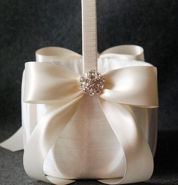 Flower Girl Basket with Light Ivory Lace and Double by YANDEBRIDAL