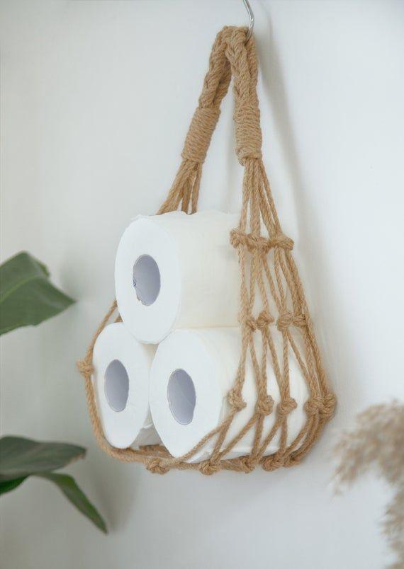 Macrame Paper Towel Holder Wall Hanging Jute Toilet Tissue Paper Roll Holder Crochet Paper Dispenser Boho Coastal Bathroom Kitchen Decor Paper Towel Holder Tissue Paper Roll Paper Roll Holders