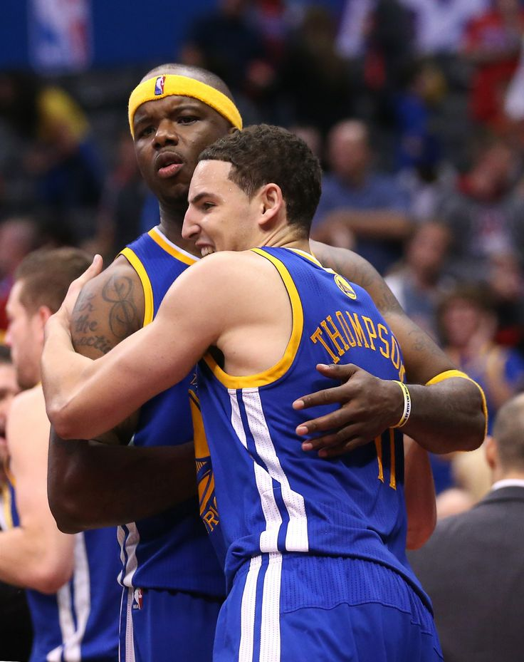 LOS ANGELES, CA - APRIL 19: Klay Thompson #11 and Jermaine O'Neal #7 of the Golden State Warriors the Los Angeles Clippers in Game One of the Western Conference Quarterfinals during the 2014 NBA Playoffs at Staples Center on April 19, 2014 in Los Angeles, California. The Warriors won 109-105.
