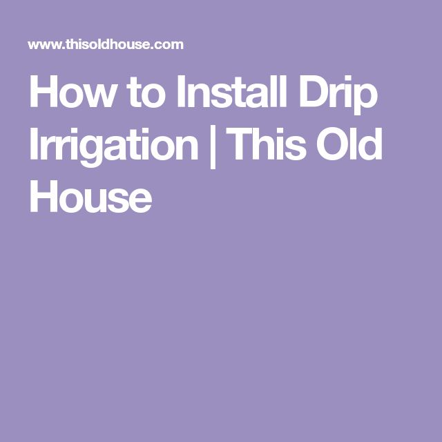How to Install Drip Irrigation   This Old House