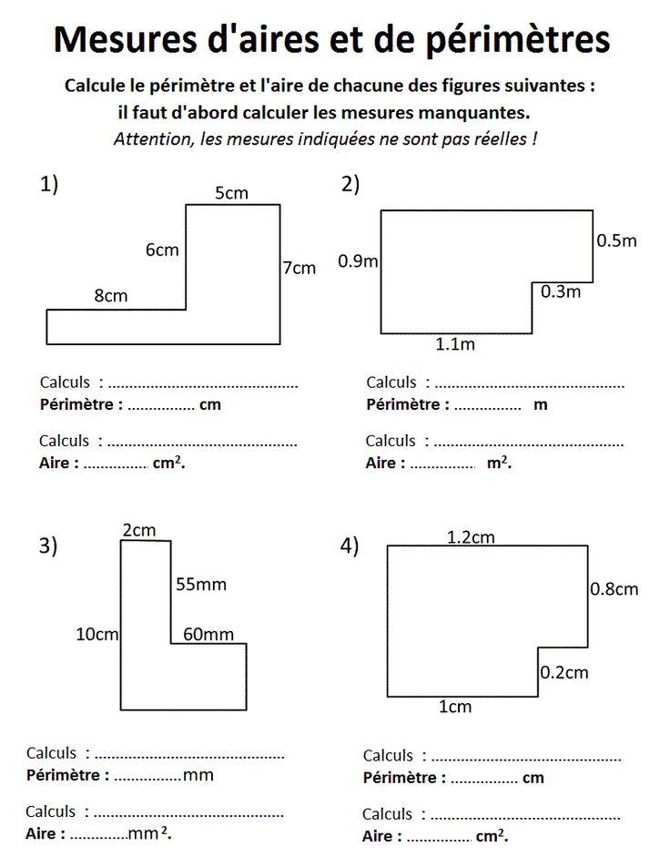 Mathématiques : GRANDEURS ET MESURES Périmètres et Aires : un pack de fiches