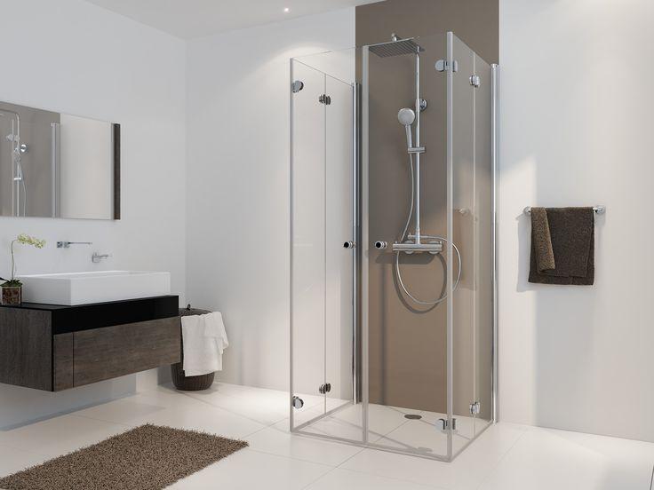 freistehende Dusche U-Form Drehfalttür