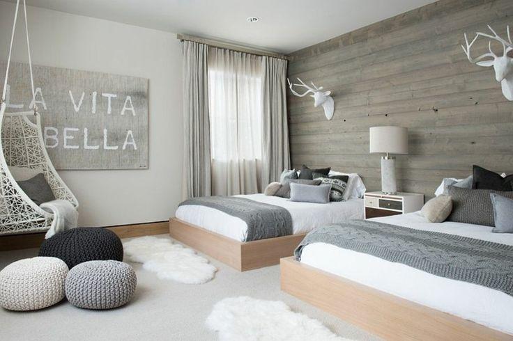 chambre de design moderne en gris et blanc