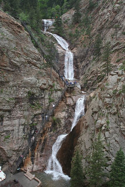 Seven Falls, Colorado... I've been here... and took the trails at the top. This was not an easy climb, lol. Take breaks as needed. :P