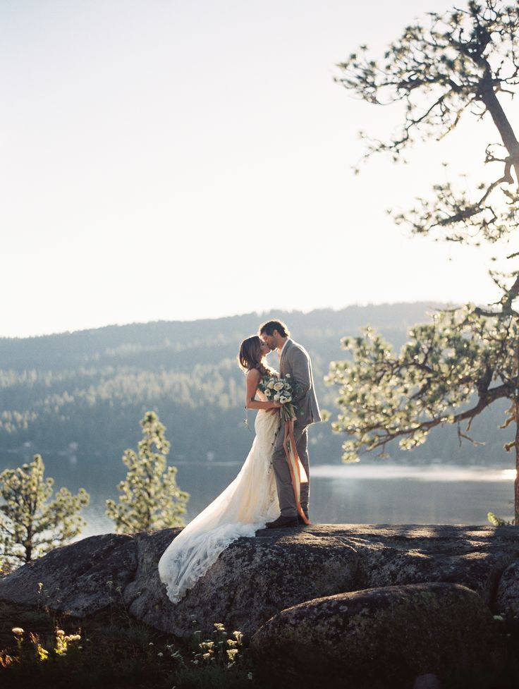 McCall Idaho Elopement by Jenny Losee Photography. Wedding dress from Essense of Australia