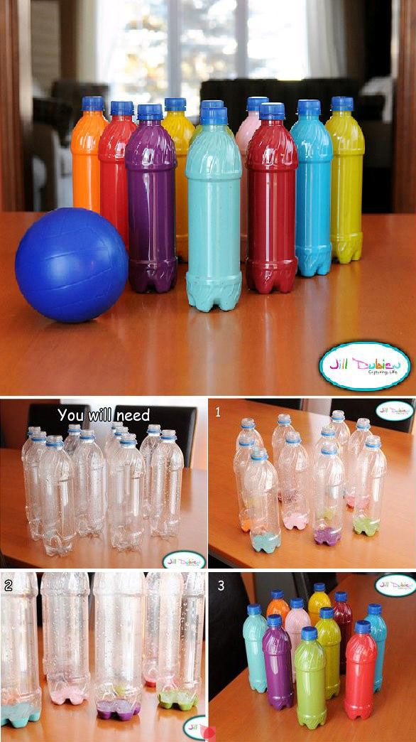 DIY bowling pins from old plastic bottles
