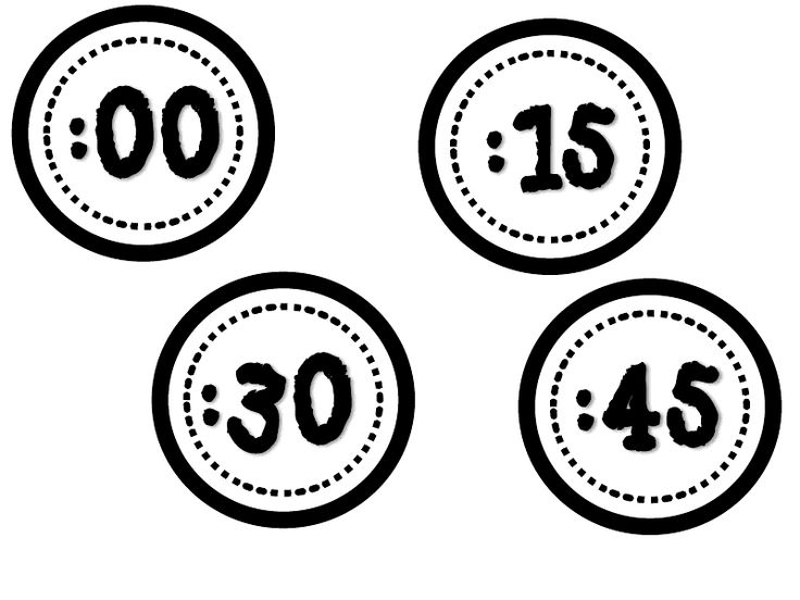 clock numbers - five minute intervals (could print on colored paper)