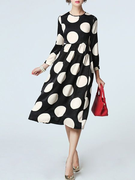 Multicolor Polka Dots Long sleeve A-line Dot Printed Midi Dress