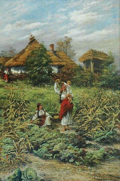 Tadeusz Rybkowski: Scena rodzajowa; olej, płótno, 105,5 x 69 cm