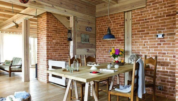 Nowoczesny styl rustykalny w domu z drewna GALERIA ZDJĘĆ