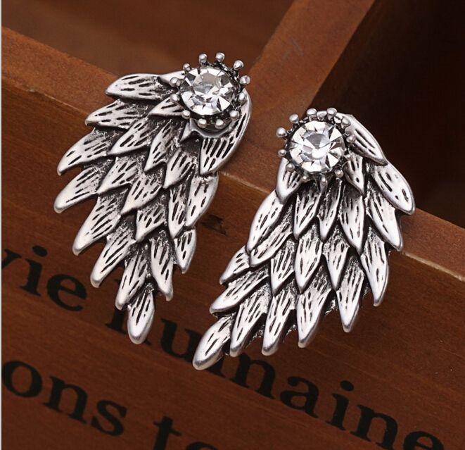 새로운 패션 고급 여성 고딕 양식의 멋진 보석 천사 날개 크리스탈 크라운 상감 합금 피어싱 스터드 귀걸이 boucle 디부 oreille E38