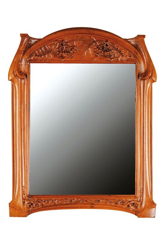 Wall mirror, Nancy, 1900, Solid walnut, illegible signed Michaut or Richaut Nancy