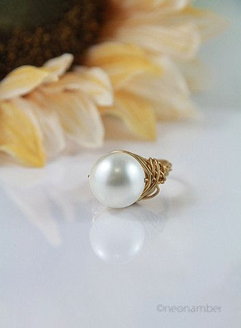 The Majestic Apryl Ring – Neonamber Jewels wired ring statement ring pearls