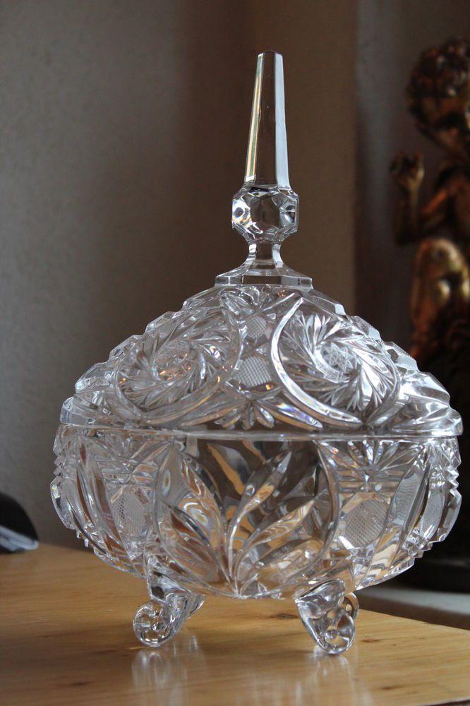 Antik-Zinn//Glas Eiseimer eckig 16,5 cm hoch