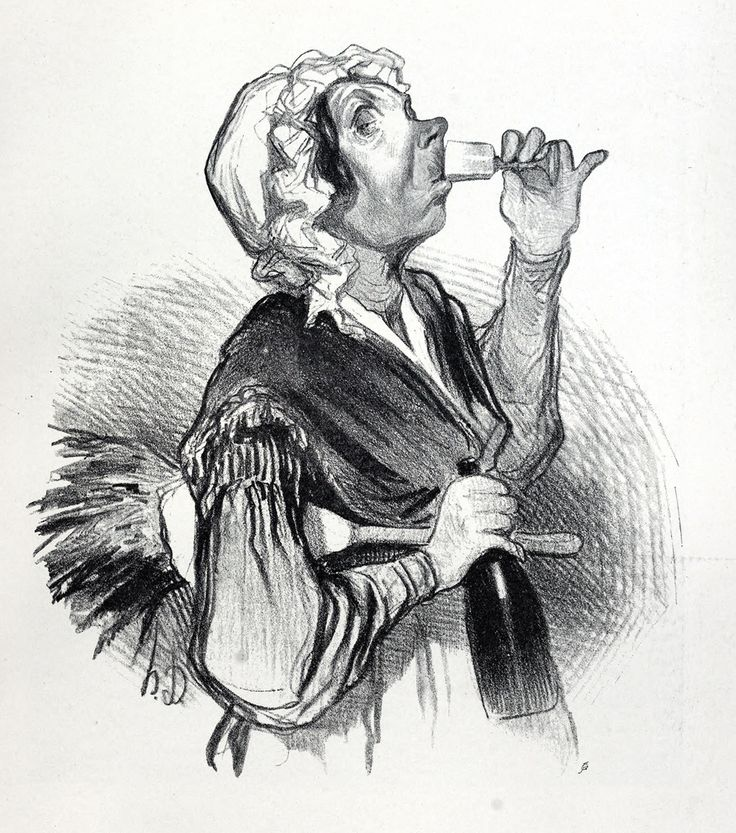 The housekeeper.  Honoré Daumier. From Daumier and Gavarni, by Henri Frantz and Octave Uzanne, London, Paris, New York, 1904  Via archive.org.