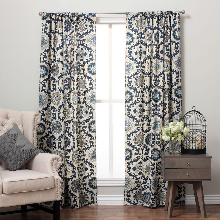 Suzani Cotton Print Rod Pocket Curtain Panel