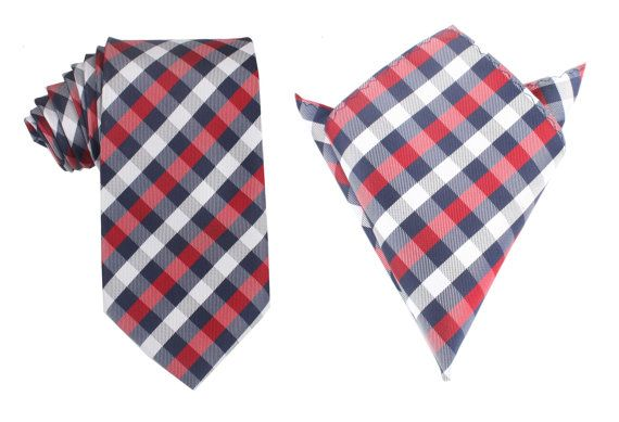 Matching Necktie  Pocket Square Combo Navy Checkered by OTAA, $43.95