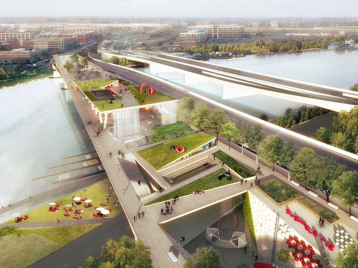 ワシントンD.C.にある老朽化した高速道路の橋を、高架公園やカフェ、教育施設等として再生させる構想を紹介。