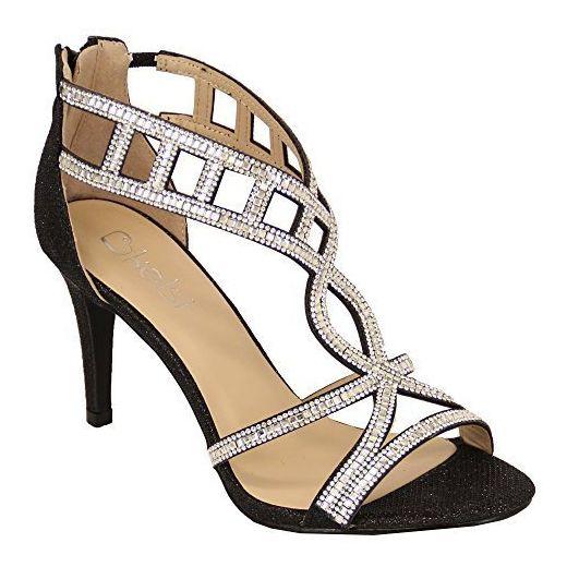 Damen Sandalen Kelsi Damen Knöchelhoher Glitzer Strass Stift Absatz Schuhe Vorne Offen - Schwarz - BH1704, 3 UK - Sandalen für frauen (*Partner-Link)