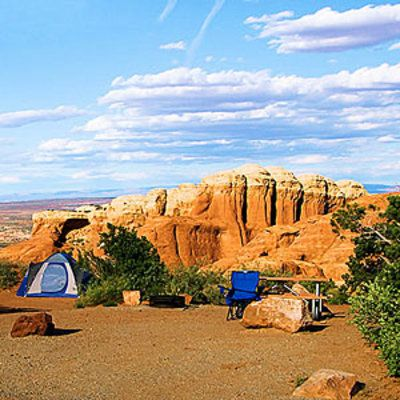 Cathedral Gorge State Park, northeast of Las Vegas Not far from the Utah border lies one of Nevada's geologic marvels: the bentonite clay spires and slot canyons of Cathedral Gorge.  http://www.sunset.com/travel/outdoor-adventure/camping-sites/cathedral-gorge-state-park