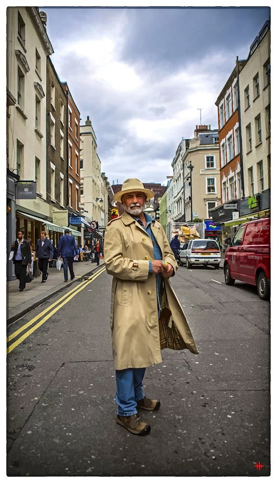 Mike Hawthorne in Burberry Trenchcoat and Panama Hat, Soho, London, 2012 (Photo Hugh Hill)